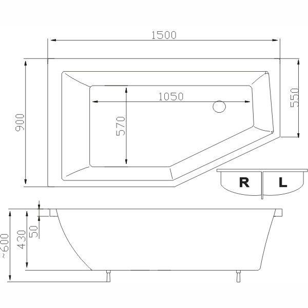 Baignoire baln o asym trique jive 150 x 90cm - Baignoire asymetrique 150 ...