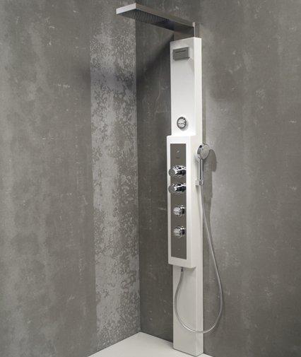 colonne de douche colonne de douche hydromassante avec robinetterie aspect bois holoma leroy. Black Bedroom Furniture Sets. Home Design Ideas
