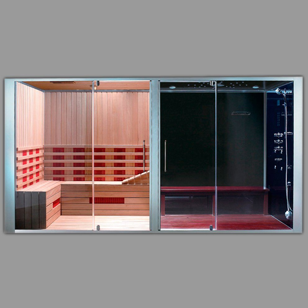 cabine sauna hammam combine. Black Bedroom Furniture Sets. Home Design Ideas