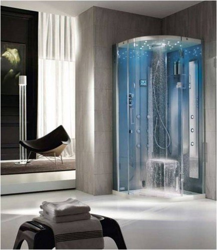 cabine de douche italienne ronde avec multifonctions. Black Bedroom Furniture Sets. Home Design Ideas