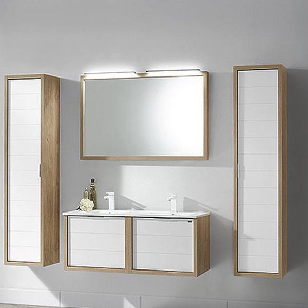 Meuble 120 doble seno tino avec sous vasque et tiroir bois for Meuble salle de bain bois et blanc