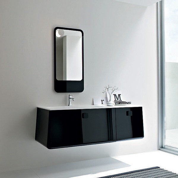 Meubles salle de bain noir for Meuble salle de bain brossette