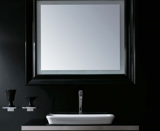 miroir salle de bain ceramica globo s rie relais bord brillant r tro clair. Black Bedroom Furniture Sets. Home Design Ideas