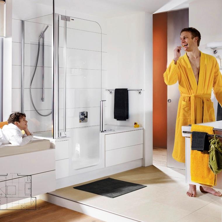 Baignoire douche a porte maison design for Baignoire a porte avec douche
