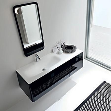 Meuble haut salle de bain noir laque for Meuble de salle de bain noir laque