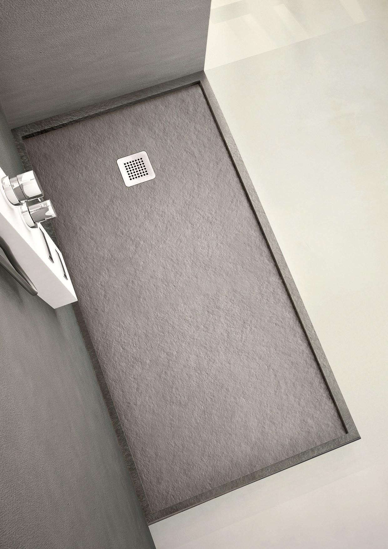 receveur de douche hafro-forma 100x70cm-hauteur 3,5cm-cache bonde en acier-finition effet pierre