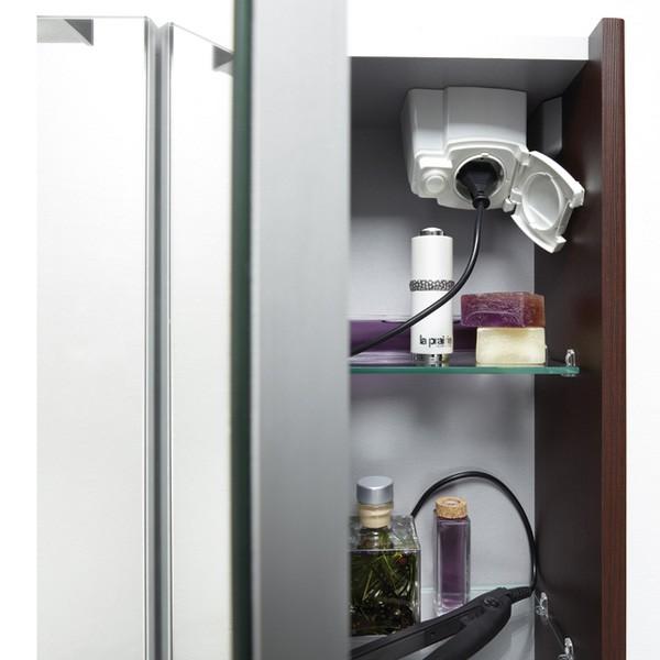 Armoire salle de bain prise for Miroir de courant mos