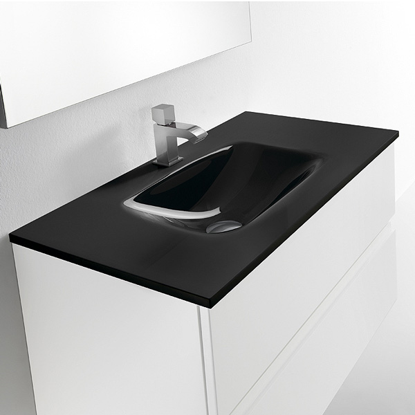 Meuble valenzuela de salle de bain dune 80x46x46 3 tiroirs et vasque - Verdubbelen vasque en verre ...