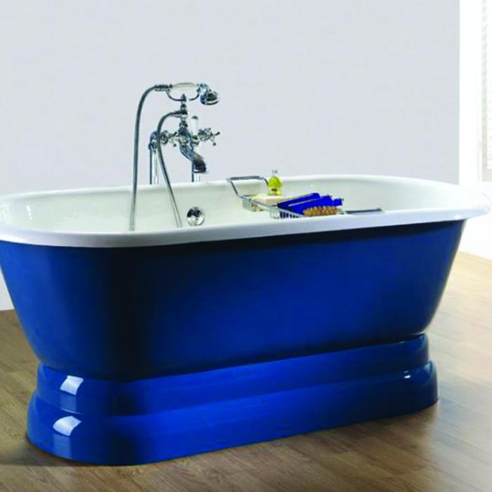 Baignoire Ancienne Vintage Sur Base 154x78 Bleu Provence