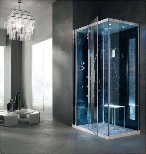 cabine de douche italienne d 39 angle multifonction en angle tempo 80x100cm. Black Bedroom Furniture Sets. Home Design Ideas