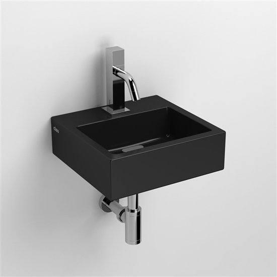 flush 1 lave mains avec 1 point d 39 amor age c ramique noir brillant. Black Bedroom Furniture Sets. Home Design Ideas