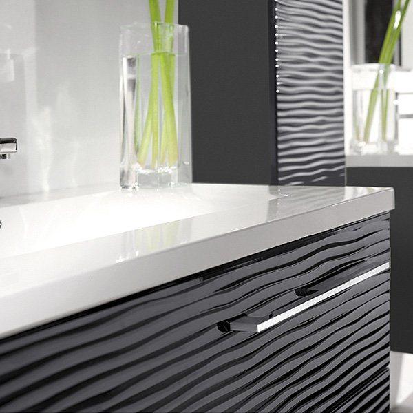 Meuble salle de bain 110 cm elegant meuble de salle de for Miroir noir download