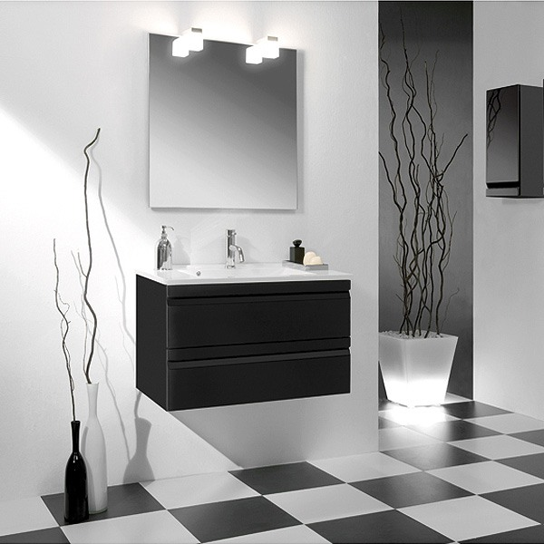 meuble de salle de bain solco 2 60cm deux tiroirs et vasque. Black Bedroom Furniture Sets. Home Design Ideas