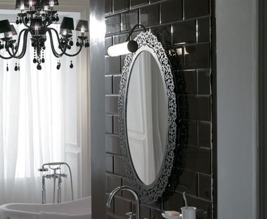 Miroir ceramica globo avec cadre en m tal finition m tal vieilli for Miroir metal vieilli